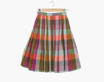 Vintage 50s Plaid SKIRT / 1950s Silk Blend Pleated Full Skirt XS