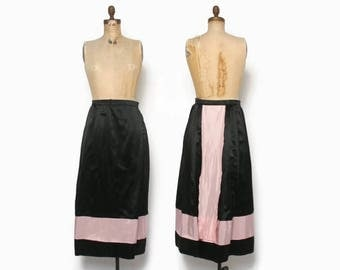 Vintage EDWARDIAN Skirt / 1910s Teens Black & Pink Silk Walking Skirt M