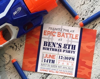 Dart Wars -- Epic Battle -- Target Practice -- Obstacle Course -- Camo 5x7 Invitation by Beth Kruse Custom Creations