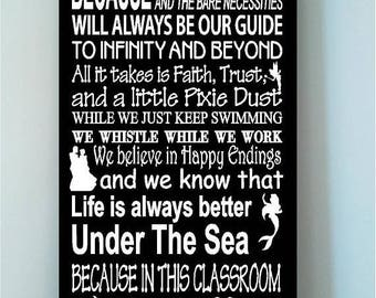 ON SALE Beautiful DISNEY famous movie quotes wooden Classroom subway art 10x24 signwith characters -In this Classroom we let it go...