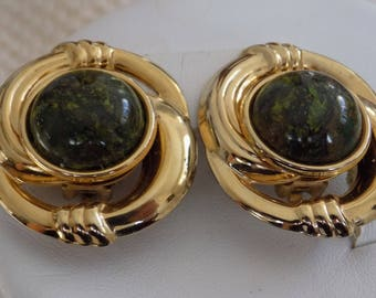 Vintage earrings, green moss agate and gold plate clip-on earrings, retro jewelry