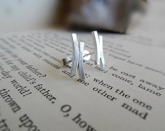 Sterling Silver Curved Bar Stud Earrings | Silver Double Bar  Stud Earrings | Square Bar Earrings | Minimal Curved Bar Earrings | Handmade