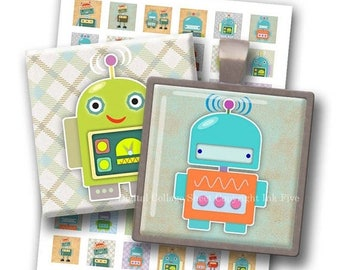 Robots 1x1 inch squares printable images. Digital Collage Sheet for magnets, scrapbooks, pendants. Digital download