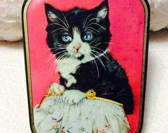 1940 FUNNY Cat Tin Box by Edward Sharp Candy of England Vintage Collectible