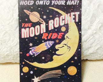 Vintage Moon Rocket Ride Tin Sign Carnival Ride Fair 1940s Ride