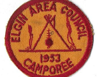 Vintage Mid Century Boy Scout Camp Patch - 1953 Elgin Area Council Camporee