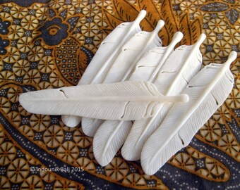 Reserved - Feather Carved Bone Pendant 77mm and 50mm
