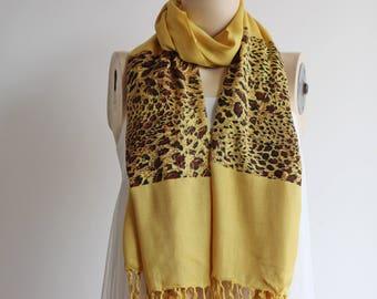 Mustard  Long Scarf  / Shawl-Fall /Spring Scarf-Leopard Scarf