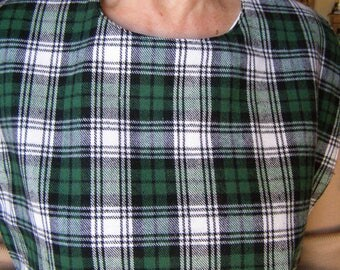Green Plaid Flannel Shirt Protector reversible Adult bib extra long