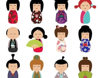 BACK TO SCHOOL Sale Kokeshi Clipart Clip Art, Momiji Clipart Clip Art- Commercial and Personal Use