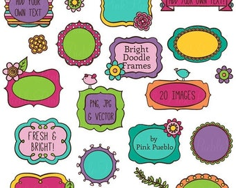 BACK TO SCHOOL Sale Doodle Frames Clipart Clip Art, Bright Doodle Frames Clip Art Clipart Vectors - Commercial and Personal