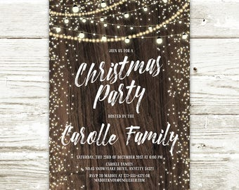 Rustic Christmas Party Invitation, String Lights and Wood Winter Christmas Party Printable Invitation
