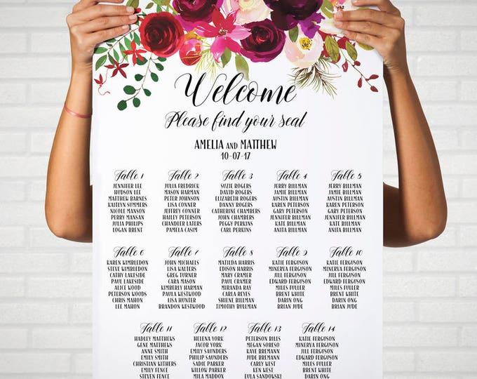 Burgundy Wedding Seating Chart Plan, Printable Seating Chart, Wedding Decor, Wedding Sign, Burgundy Plum Floral Wedding Seating Chart