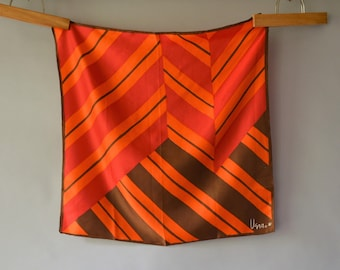 "Vintage 60s Vera Scarf Orange and Red and Brown Ladybug Signature Geometric Stripes Twill Hand Rolled Hems 23"" Square Very Good  Condition"