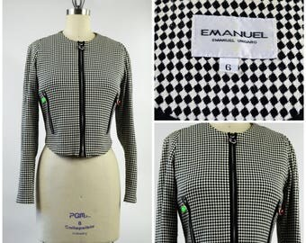 Late 1980s Emanuel Ungaro Cropped Jacket Black and White Check with Large Round Colored Zipper Pulls Separating Zipper Size Small