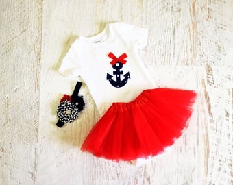 READY TO SHIP Size 18 Months Baby Girl Anchor Bodysuit, Red Little Tutu, and Floral Headband