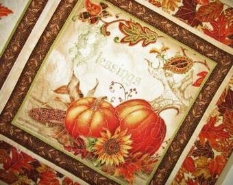 Fall Table Runner, Thanksgiving, handmade, quilted, fall leaves, pumpkins, birds, horn a plenty, Wall hanging