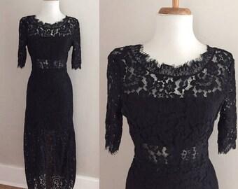 Vintage Black Lace Hippie Dress / 1940s Art Deco / 90s Boho Wedding Dress  / Lace Maxi Festival Dress / Sheer Floral Lace / Long Black Dress