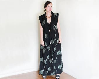 Vintage Cotton Elephant Printed Vest / Duster / Abstract / High Fashion