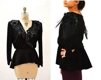 SALE Vintage Black Sequin Shirt Wrap shirt Size Large beaded Fringe Top // 80s Vintage Black Sequin Shirt Wrap Shirt Peplum Fringe Size Larg