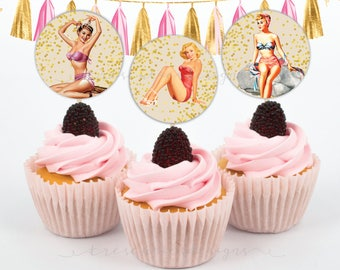 Bachelorette Cupcake Toppers - Pin Up Girl - 2inches - Instant Download