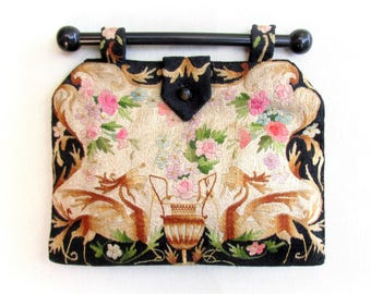 Vintage 1940s Embroidered Purse with Wood Bar Handle