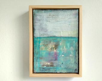 """Abstract Painting, 5x7"""" framed Abstract Art, Abstract Landscape, Rustic Painting, Mixed Media Painting, Blue Green Aqua Painting """"Pacific"""""""