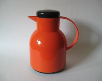 Emsa Germany orange and black plastic coffee tea vintage carafe thermos atomic styling