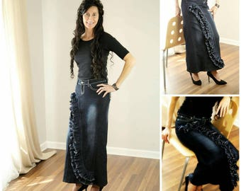 DELAROSA Custom Order to Your size Front Ruffle Wave Long Jean Skirt size 0-2-4-6-8-10-12-14-16-18-20-22-24