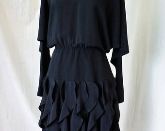 1980's/ 1990 Mermaid Dress / Collections/ Size 6 /Black 80's 90's Cocktail Dress with Flounced Ruffle Skirt, Dolman Sleeves, Knee Length