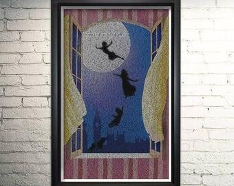 Peter Pan Word Art Print, Wall Art, Literature Art Print