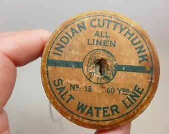 Indian Cuttyhunk All Linen Salt Water Line - Vintage Fishing Line - All Linen Fishing Line - Vintage Fishing Equipment