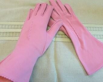 Vintage Dusty Rose VAN RAALTE Nylon Women's Gloves - Costume Gloves, Halloween Gloves Size 6 1/2