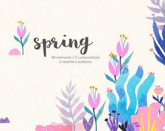 Watercolor Flower Cliparts - SPRING - Floral Patterns, Flower Wrapping Paper, Botanical Digital
