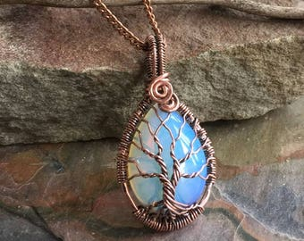 Opalite Tree of Life Pendant, Wire Wrapped Blue Opalite Pendant in Antiqued Copper, Wire Wrapped Jewelry, Blue Opalite Tree of Life Necklace