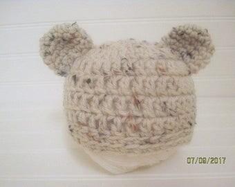Newborn Bear Hat, Baby Bear Hat, Bear Hat, Cream Fleck, Baby Shower Gift, New Mom Gift, Baby Gift, Photo prop, Hospital Hat, Coming Home Hat