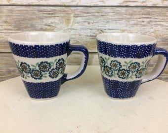 Boleslawiec Polish Pottery Coffee Mugs, Pair of Polish Pottery Coffee Mugs, Cobalt Blue Floral Coffee Mugs, Made in Poland