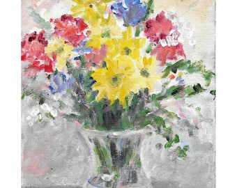 Original acrylic floral painting Colorful Flowers in Glass Vase 10x8 inches