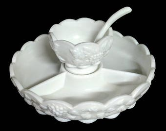 3 Pc Westmoreland Paneled Grape Milk Glass Divided Dish Center Service Condiment Bowl