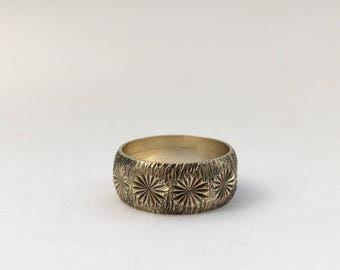 Vintage Modernist Design Starburst Star Silver Gilt Vermeil Wide Band Stacking Ring