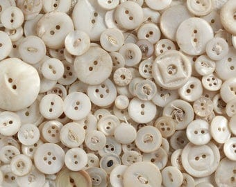 Weathered Whites - Lot of over 100 Shabby Vintage Mother of Pearl Shell Buttons