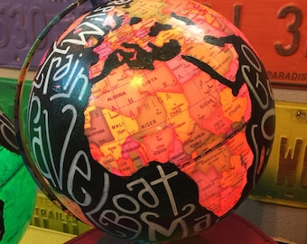 """World Globe 10"""" X 11"""" LIGHTS UP with your custom Lyrics Names Quotes 14 colors to light up with remote 4 light modes"""