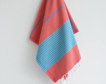 NEW / SALE 50 OFF/ BathStyle / Turkish Beach Bath Towel / Red Blue / Wedding Gift, Spa, Swim, Pool Towels and Pareo