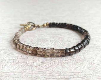 Smokey Gray and Black Quartz, Heishi Beaded Bracelet with Antiqued Gold Plated Brass Accents