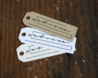 "100+ Custom  tags - 1.75""x .50"" Customized Small Price Tags Jewelry Hang Tags Labels"