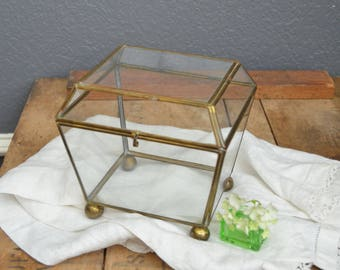Vintage Brass and Glass Display Case Ball Feet Hinged Lid Standing Gold Curio Cabinet Vintage Box Vintage Glass and Brass Patina