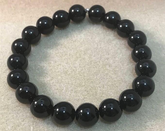 Black Tourmaline Bracelet, Black Tourmaline, 10mm Bracelet, Stretch Bracelet, Bead Bracelet, Beaded Bracelet, Gifts for Him, Husband Gift
