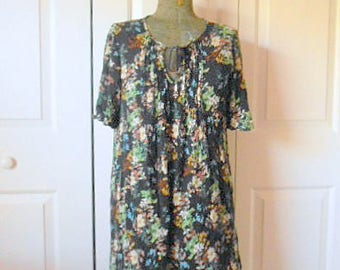 Vintage floral print bohemian 90's India tunic Dress