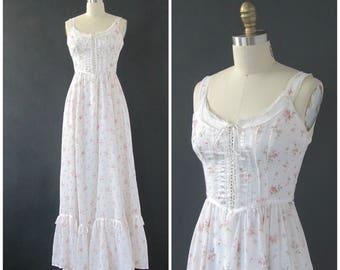 Vintage 70s Gunne Sax Dress | 1970's  Prairie Dress | Gune Sax by Jessica | Boho, Romantic, Bridal Wedding | Size Small
