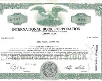 Vintage International Book Corporation Original Stock Certificate (green), 1960s
